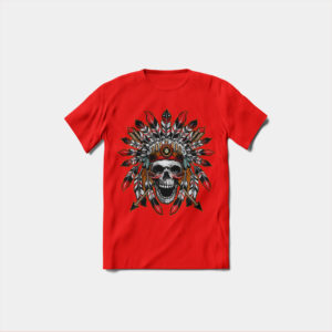 Koszulka czerwona męska z nadrukiem
